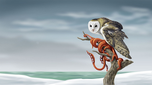 Squidowl Painting by Phineas X. Jones