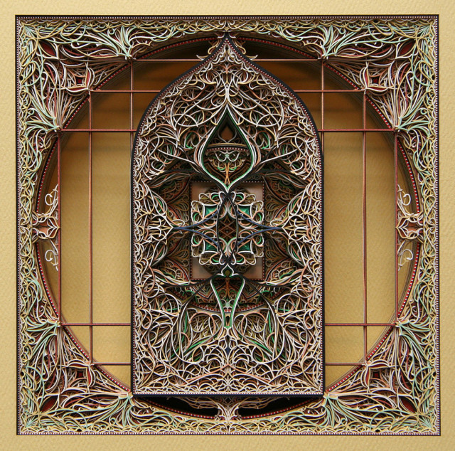 Paper cut stained glass window sculptures by Eric Standley
