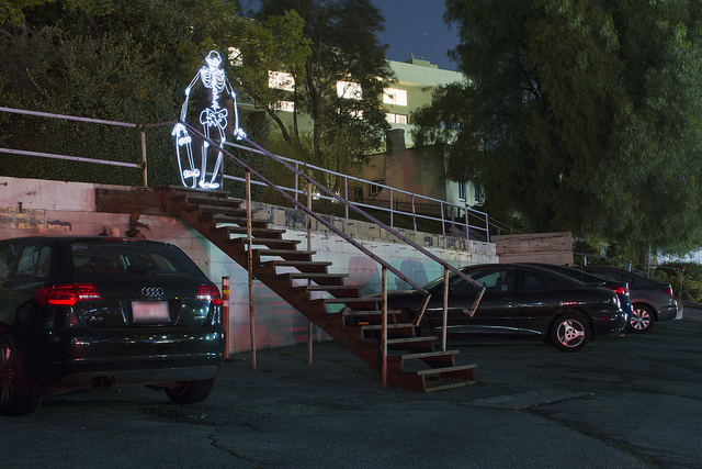 Spot Check, Animated Light Painting of a Skateboarding Skeleton
