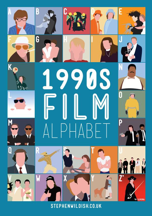 1990 39 s film alphabet poster that quizzes your 1990s movie knowledge. Black Bedroom Furniture Sets. Home Design Ideas
