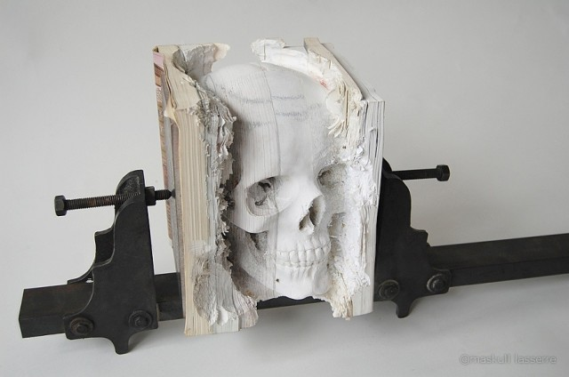Incarnate, A Human Skull Carved Into Old Software Manuals by