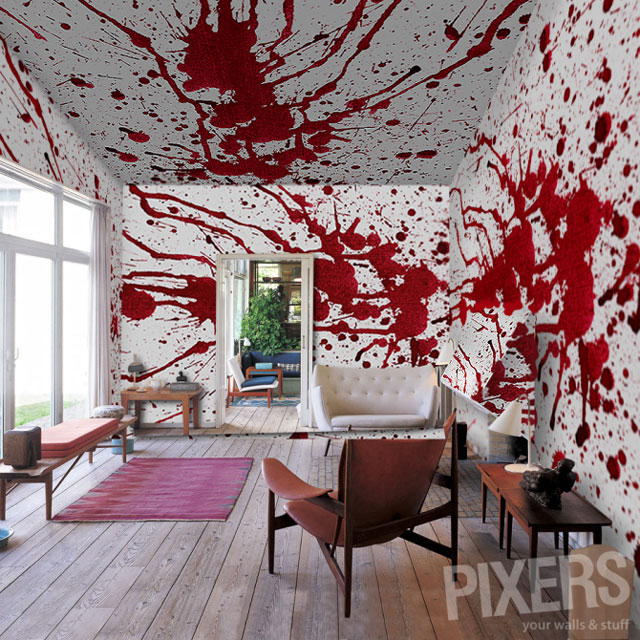 Bloody Moon Wall Murals, Blood Themed Photo Wallpaper by