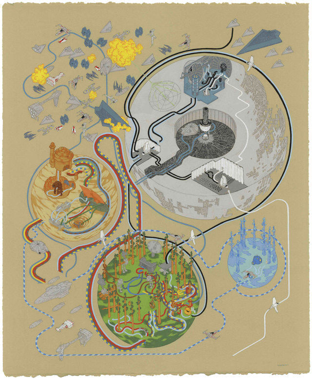 Star Wars Return of the Jedi Map by Andrew DeGraff