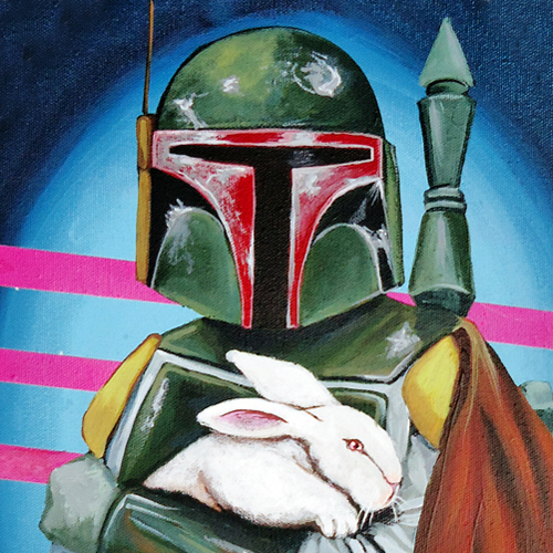 Paintings of Star Wars Characters Holding Bunnies & Lambs