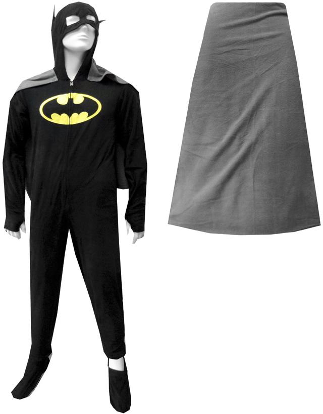 Batman / BatGirl Hooded Fleece Onesie Footie Pajama with Cape