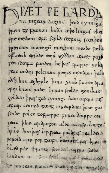 First page of Beowulf in Cotton Vitellius A. xv.