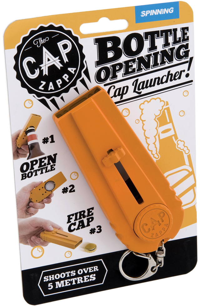 Cap Zappa, Bottle Opener With a Built-In Cap Launcher