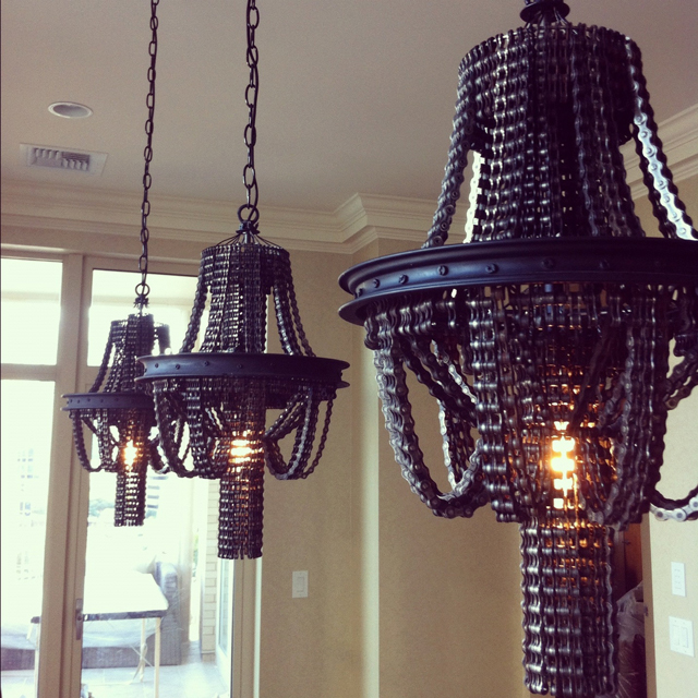Salvaged Bicycle Chain Chandeliers By Carolina Fontoura Alzaga