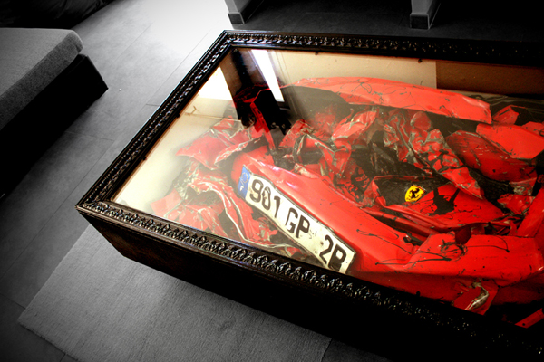 Crashed Ferrari Table by Charly Molinelli