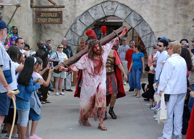 Bloody Jesus on the cross
