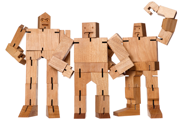 Cubebot, Posable Cherry Wood Robot Puzzles