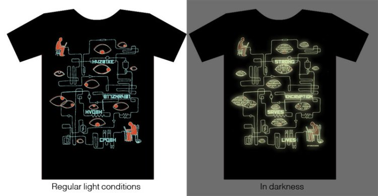 EFF's Dark Strong Encryption Saves Lives T-Shirt at DEF CON