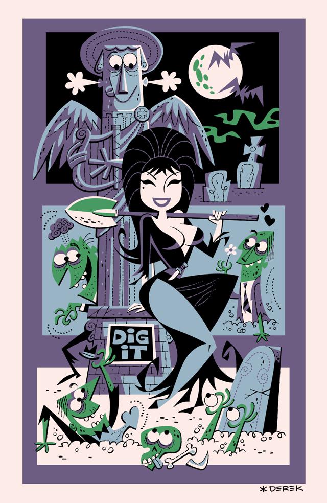 Elvira Tiki Poster by Derek Yaniger