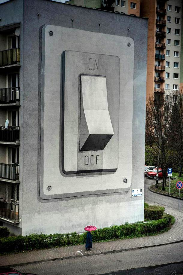Giant On/off switch mural by escif