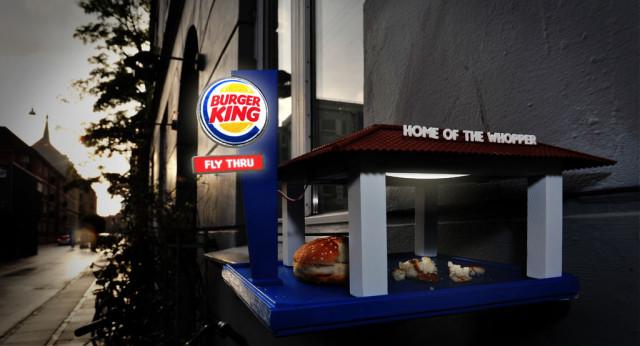Fast food fly thru bird feeder