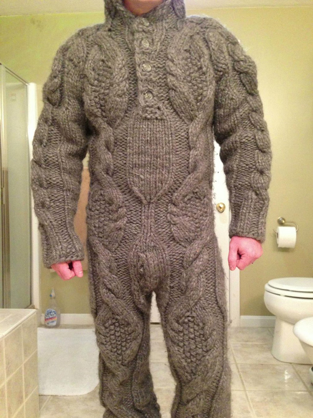 A Guy Wearing A Full Body Cable Sweater