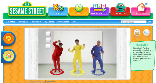Three Primary Colors, OK Go\'s Sesame Street Video & Color Game