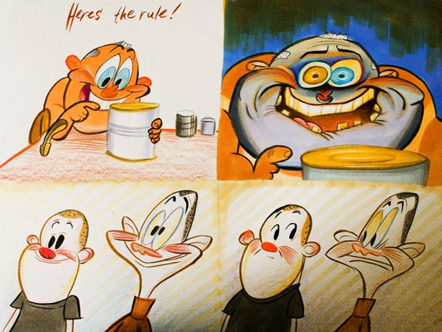 """George Liquor """"Cans Without Labels"""" by John Kricfalusi"""