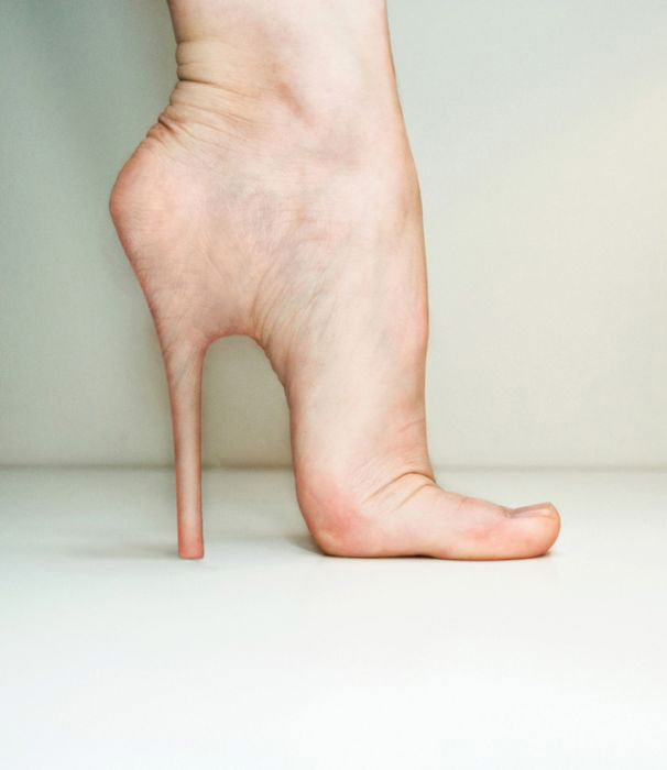 Creepy Concept For Real Skin Human Body Stiletto Heel Implants