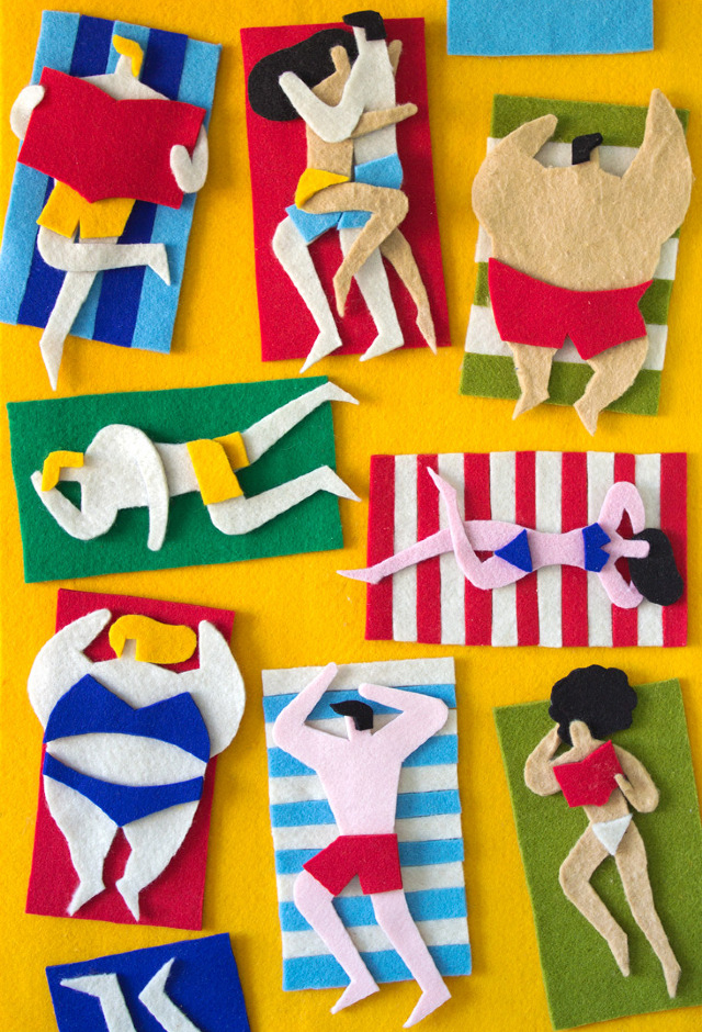 Public Beach - Felt Collage by Jacopo Rosati