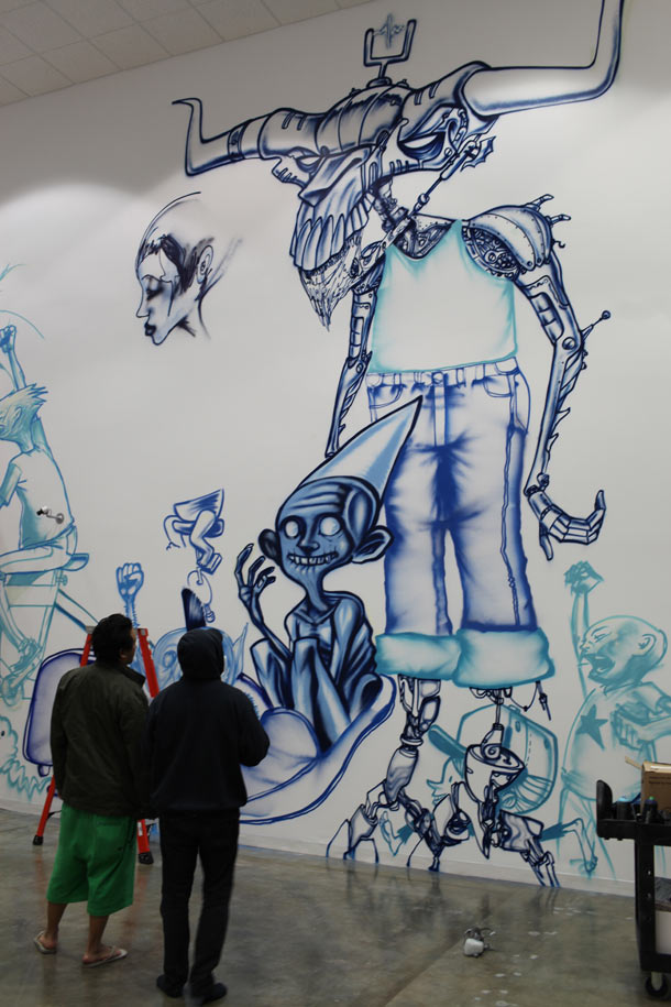 David choe paints graffiti style art at facebook s new for David choe mural