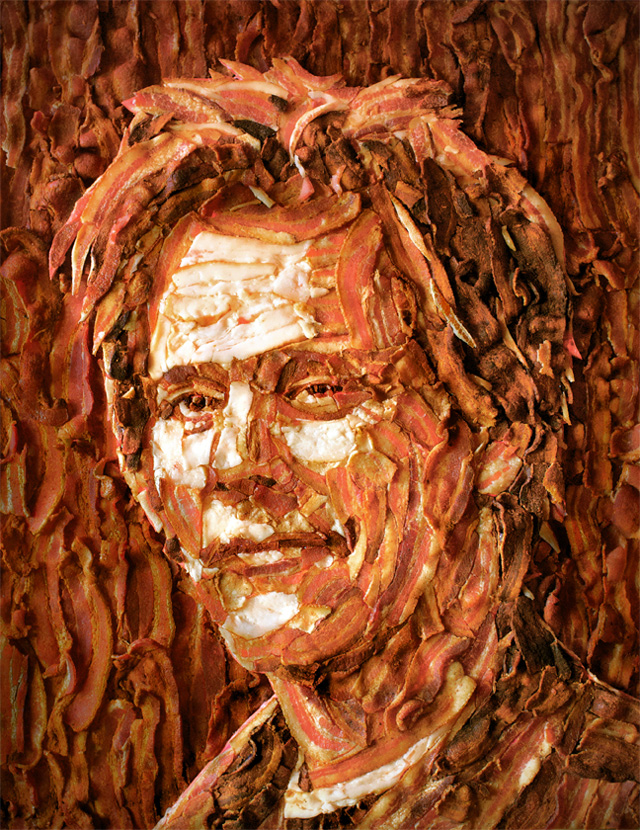 Portrait of Kevin Bacon Made Out of Bacon