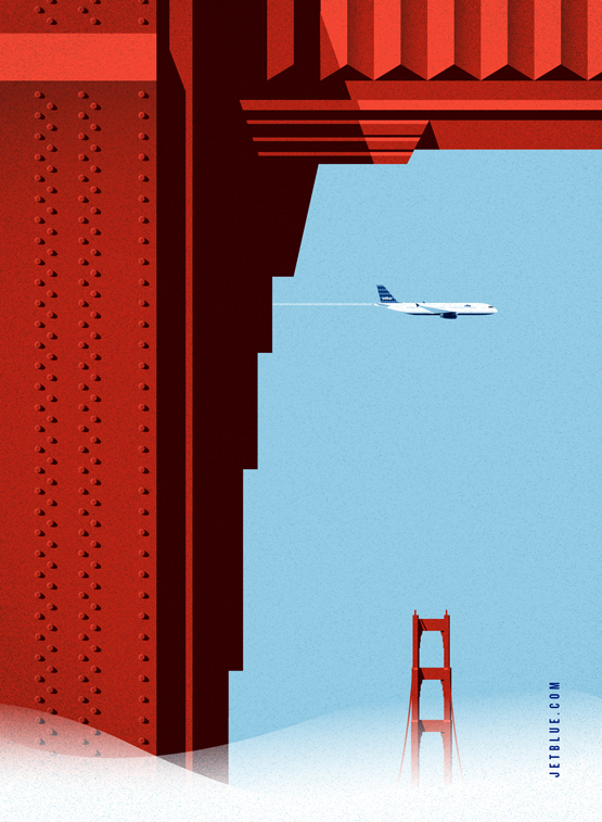 Vintage style ad posters for jetblue for San francisco advertising agencies