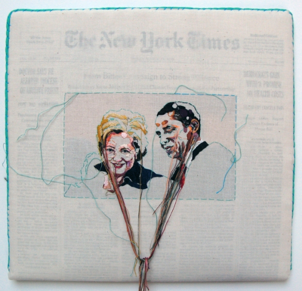 Sewnnews embroidered New York Times by Lauren DiCioccio