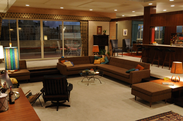 the swanky 1960s era manhattan apartment of mad men 39 s don draper. Black Bedroom Furniture Sets. Home Design Ideas