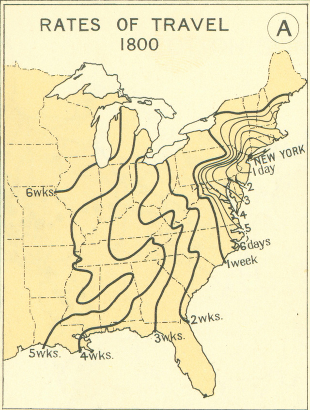 How Fast You Could Travel Across The United States In - Map of the us in 1800