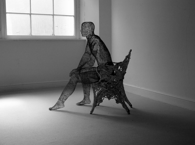 Wire mesh sculptures by Derek Kinzett