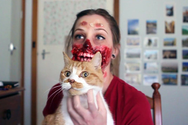 Zombie Halloween Costume by Kiana Jones  sc 1 st  Laughing Squid & Zombie Audrey Hepburn Custom Made Halloween Costume