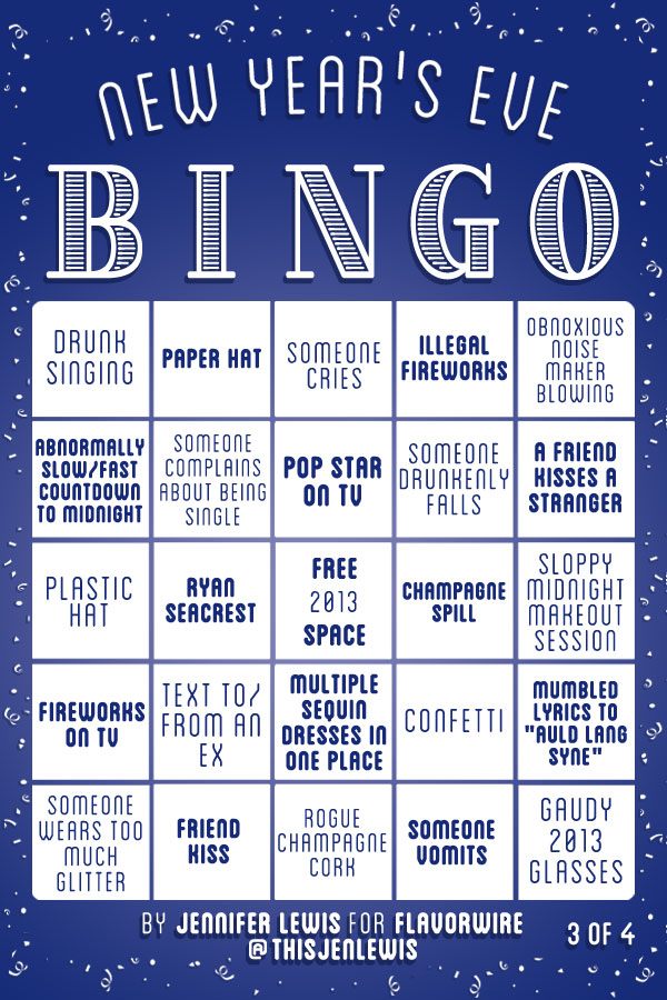 New Year\'s Eve Bingo Game Cards