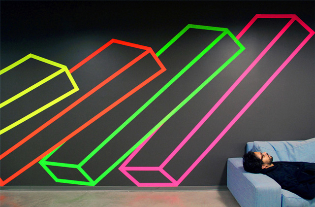 Facebook Commissions Tape Art Installation by Aakash Nihalani