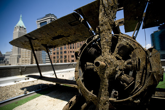 WWI Biplane on New York City Rooftop