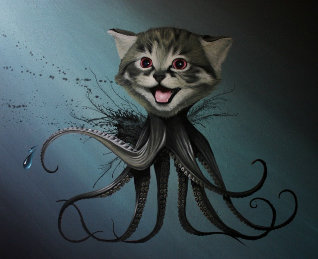 Octopussy, A Creepy Cute Painting Featuring a Kitten With Tentacles