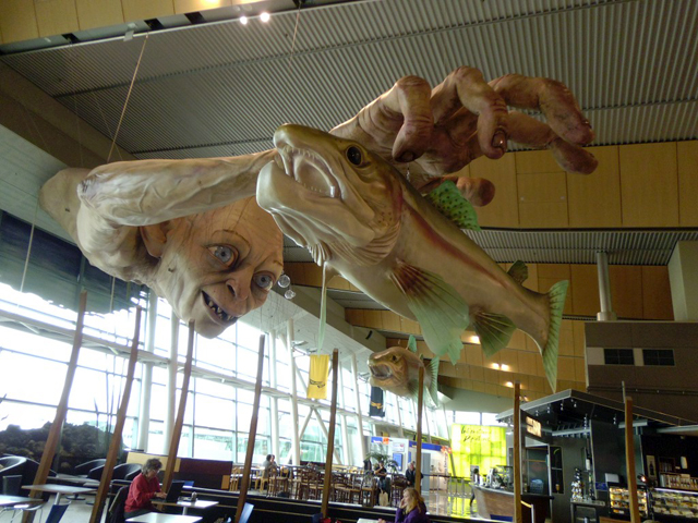 Giant Gollum Sculpture Installed at a New Zealand Airport