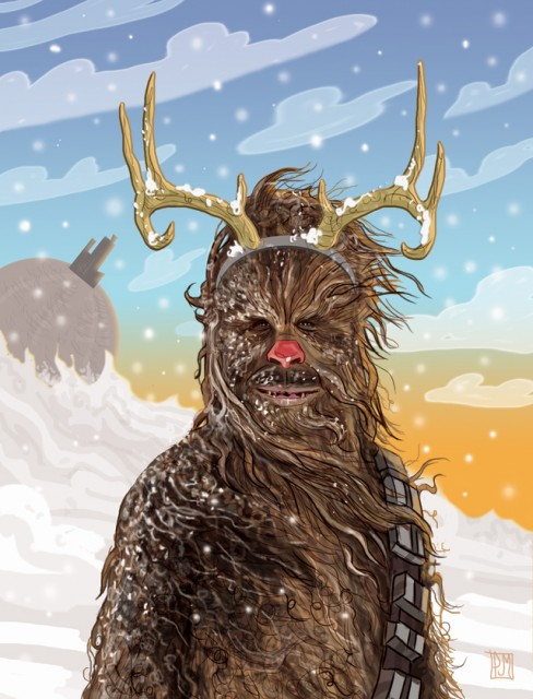 star wars chewbacca the red nosed reindeer christmas card - Star Wars Christmas Card