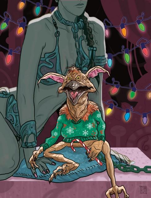 Star Wars Salacious Crumb Slave Leia Christmas Card