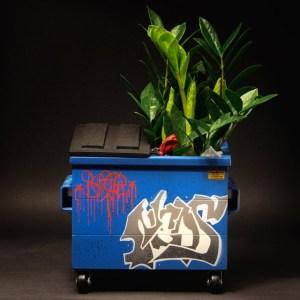 Desktop Dumpster with a plant