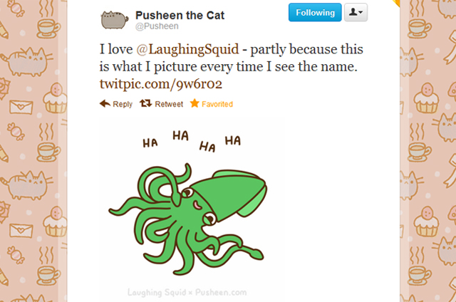Pusheen the Cat loves Laughing Squid