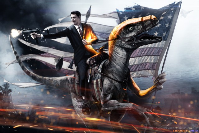 Battlefield 3 Reagan Riding Velociraptor