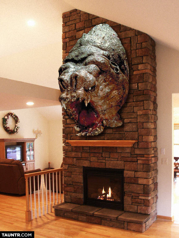 Man Cave With Fireplace : Taxidermied heads of star wars creatures mounted on fireplaces