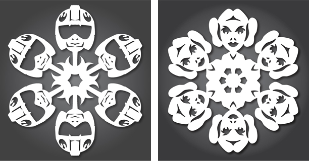 Rebel Pilot / Princess Leia - Star Wars Snowflakes 2012 by Anthony Herrera