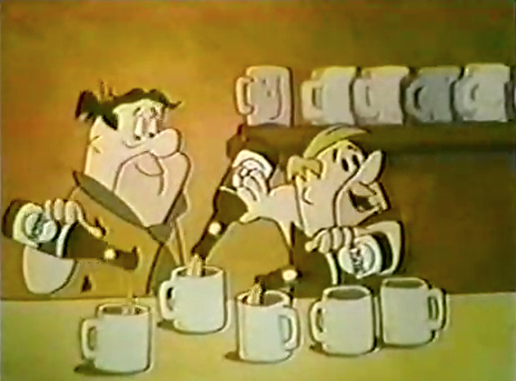 the flintstones fred amp barney push busch beer in an ad 1967