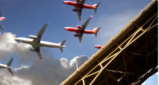 Time-lapse of airplanes