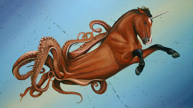 Seahorse 2.0, A Wild Painting Featuring a Horned Horse With Tentacles
