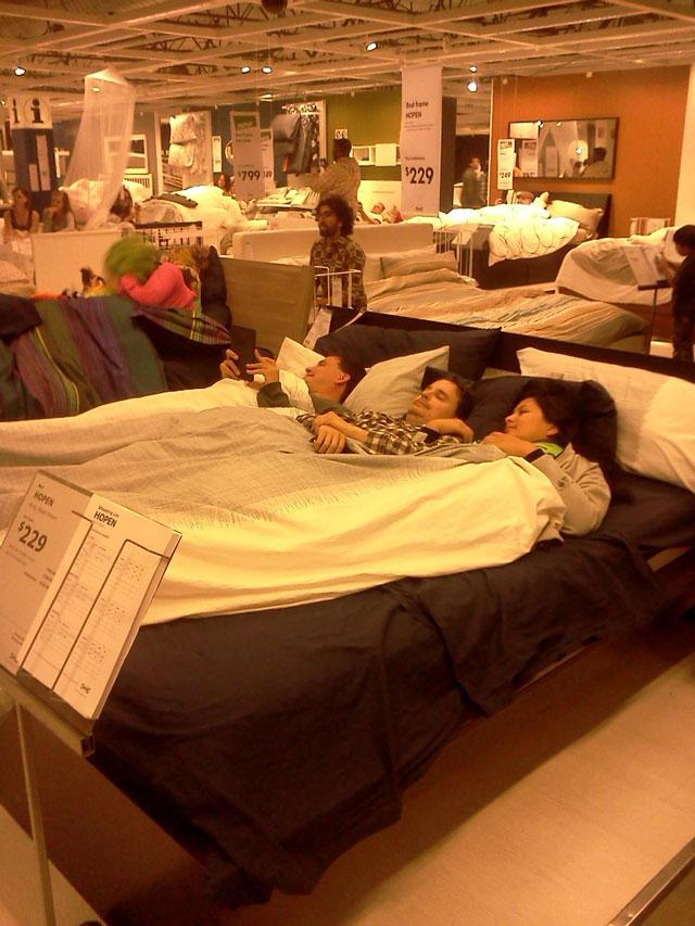 IKEA Slumber Party, Pajama'd Crowd Hops Into IKEA Beds ...