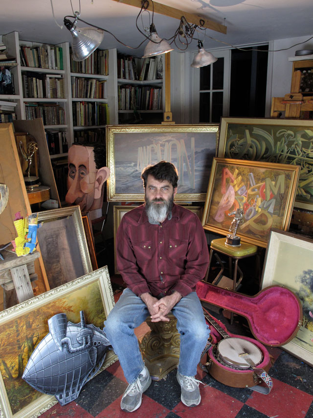Wayne White in his studio