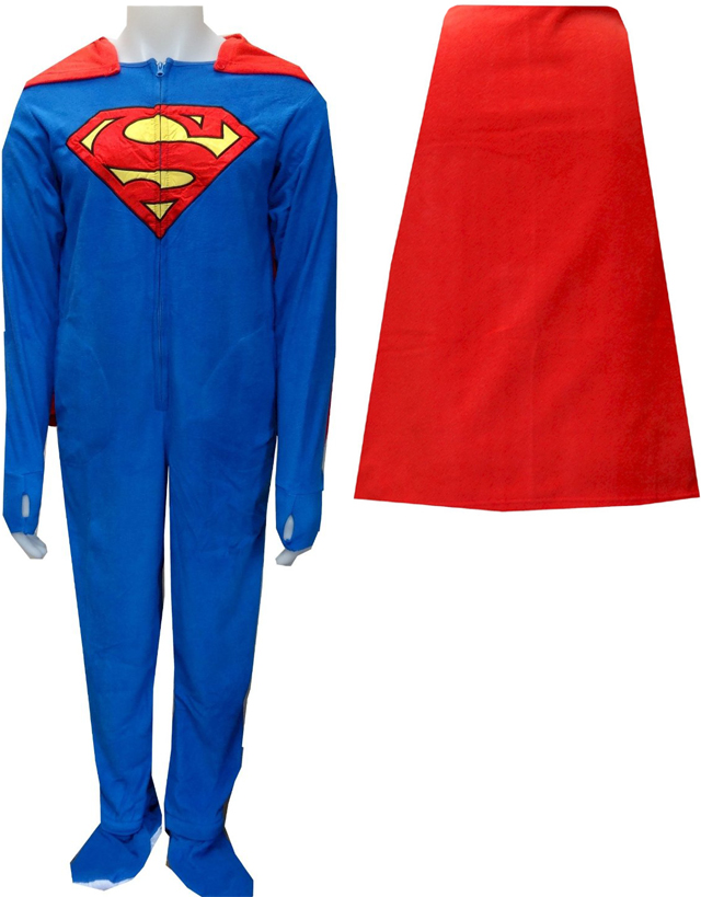 Superman   SuperGirl Fleece Onesie Footie Pajama with Cape 6ccf9bd8b